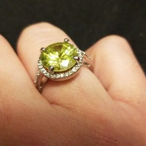 Lime Green Gemstone Ring with Rhinestone Halo